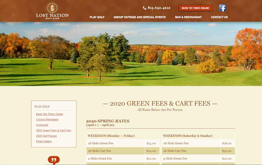 Lost Nation Golf Course Green Fees